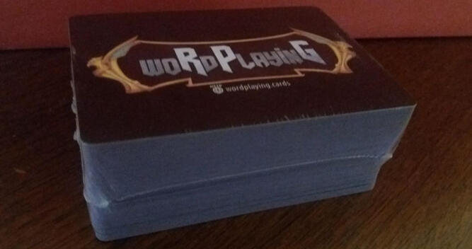 Shrinkwrapped woRdPlayinG cards back